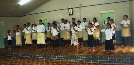 youth of Tufuvai village dancing in hall
