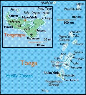 Map of Tonga with close up of Tongatapu